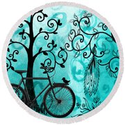 Bicycle In Whimsical Forest Round Beach Towel