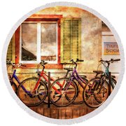 Bicycle Line-up Round Beach Towel