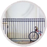 Bicycle New Orleans  Round Beach Towel