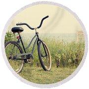 Bicycle On Beach Summer's On The Coast Round Beach Towel