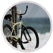 Bicycle On The Beach Round Beach Towel by Julie Niemela