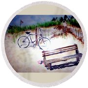 Bicycle On The Beach Round Beach Towel
