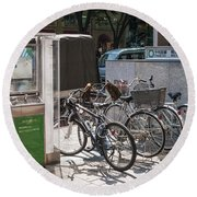 Bicycle Parking And Smoking Station In Tokyo Japan Round Beach Towel