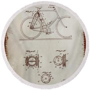 Bicycle Patent Drawing 4a Round Beach Towel