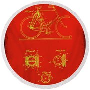 Bicycle Patent Drawing 4c Round Beach Towel