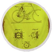 Bicycle Patent Drawing 4d Round Beach Towel