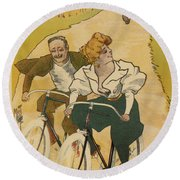Bicycle Poster, 1895 Round Beach Towel