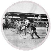 Bicycle Race, 1890 Round Beach Towel
