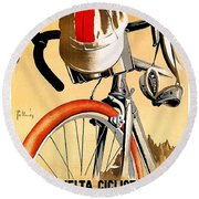 Bicycle Race, Catalonia, Vintage Travel Poster Round Beach Towel
