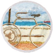 Seaside Bicycle Stand Round Beach Towel