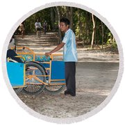 Bicycle Taxi Inside The Coba Ruins  Round Beach Towel