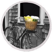 Bicycle With Flower Basket Round Beach Towel