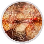 Bicycles In Amsterdam Round Beach Towel by Richard Anderson