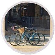 Bicycles On Main Street Round Beach Towel