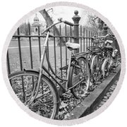 Bicycles Parked At Fence On Street, Netherlands Round Beach Towel