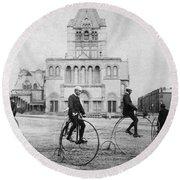 Bicycling, 1880s Round Beach Towel
