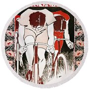Bicycling Poster, 1896 Round Beach Towel
