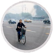 Bicyclist In Beijing Round Beach Towel