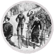 Bicyclist Meeting, 1884 Round Beach Towel