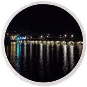 Bideford Long Bridge At Night Round Beach Towel
