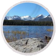 Bierstadt Lake In Rocky Mountain National Park Round Beach Towel