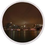 Big Apple Lights Round Beach Towel