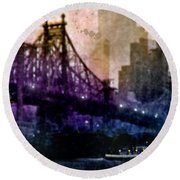 Big Apple Shadows Round Beach Towel