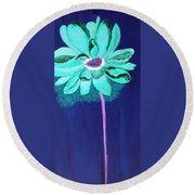 Big Aqua Flower Round Beach Towel