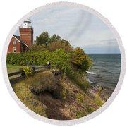 Big Bay Point Lighthouse 2 Round Beach Towel