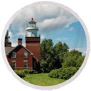 Big Bay Point Lighthouse Round Beach Towel