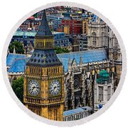 Big Ben And Westminster Abbey Round Beach Towel