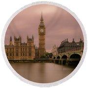 Big Ben And Westminster Bridge, London Round Beach Towel