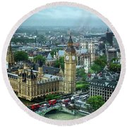 Big Ben From The London Eye Round Beach Towel