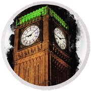 Big Ben In London Round Beach Towel