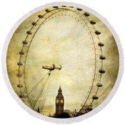 Big Ben In The London Eye Round Beach Towel