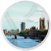 Big Ben, Parliament And River Thames Round Beach Towel