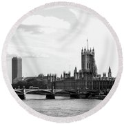 Big Ben, Parliament And Thames River Round Beach Towel