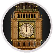 Big Ben Striking Midnight Round Beach Towel