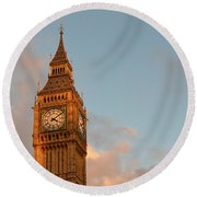 Big Ben Tower With Blue Sky And Some Clouds Round Beach Towel