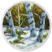 Big Birches In Winter Round Beach Towel