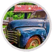 Big Blue Chevy At The Farm Round Beach Towel