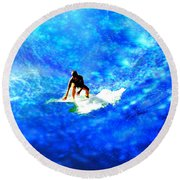 Big Blue Round Beach Towel