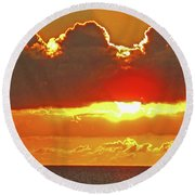 Big Bold Sunset Round Beach Towel