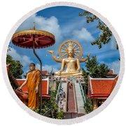 Big Buddha Temple Round Beach Towel