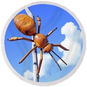 Big Bug Sculpture 1 Round Beach Towel
