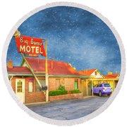 Big Bunny Motel Round Beach Towel by Juli Scalzi
