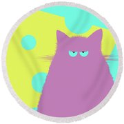 Big Cheese Lilac Cat Round Beach Towel