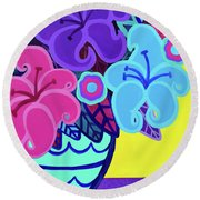 Big Colorful Lillies Round Beach Towel