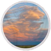 Big Country Sunset Sky Round Beach Towel