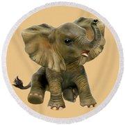 Beautiful African Baby Elephant Round Beach Towel